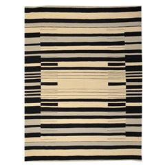 Flat-Weave Kilim, Ethnic Design with Black, Gray and Beige Colors