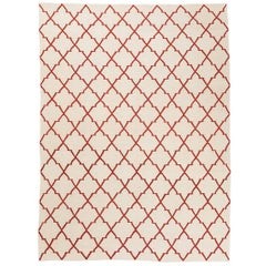 21st Century Contemporary Kilim, Geometric Design with Beige and Red Colors