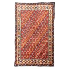 20th Century Persian Gabbeh Wool Rug, Design Diamonds Diagonally, circa 1900