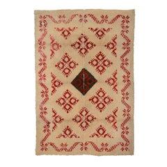 19th Century Green, Red and White Wool Spanish Rug, Alpujarra, circa 1880