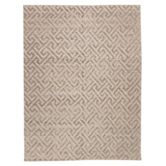 Contemporary Handmade Rug, Geometric Design in Gray Soft Color