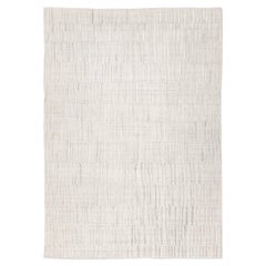 Contemporary Rug Abstract Design on Gray and White Colors
