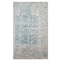 Contemporary Rug, Abstract Design over Blue Colors