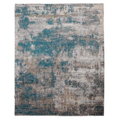 Contemporary Rug, Abstract Design with Soft Colors, Gray and Blue