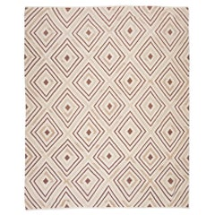 Contemporary Kilim, Geometric Design with Brown and Beiges Colors