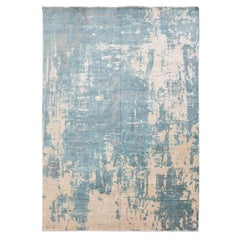 Contemporary Rug Abstract Design in Soft Tones, Blue Colors