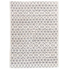21th Century Contemporary Flat-Weave, Black and White Design