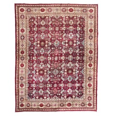 Antique Rug Agra from India with Design of Palmettes, circa 1900