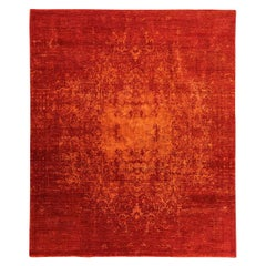 Contemporary Rug, Abstract Design over Red Colors