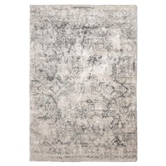 Contemporary Silk and Wool Rug, Abstract Design in Grey and Beige Colors