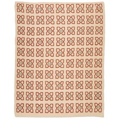 21th Contemporary Kilim, Geometric Design over Beige, Red and Green Colors