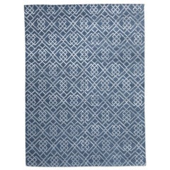 21th Century Modern Silk and Wool Rug, Geometric Design in Gray and Blue Colors.