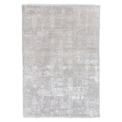 Handmade Contemporary Rug, Silk and Wool over Abstract Design