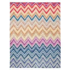 Contemporary Kilim, Geometric Design, Multicolor