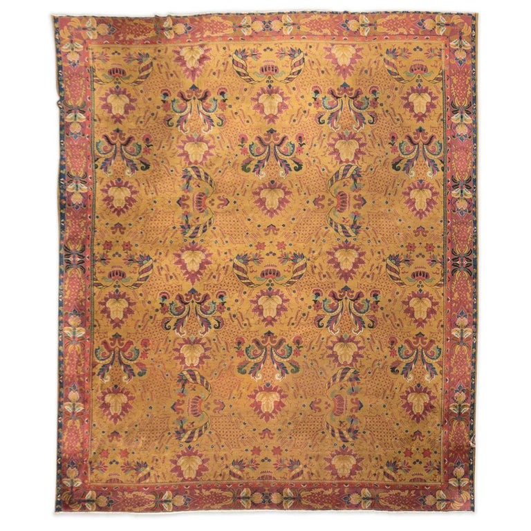 20th Century Lahore Indian Wool Rug, Pink, Green And