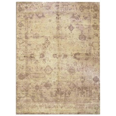 Contemporary Silk and Wool Rug, Abstract Design with Beige and Earth