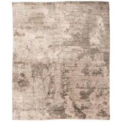 Contemporay Silk and Wool Rug, Abstract Design Rug with Brown Colors