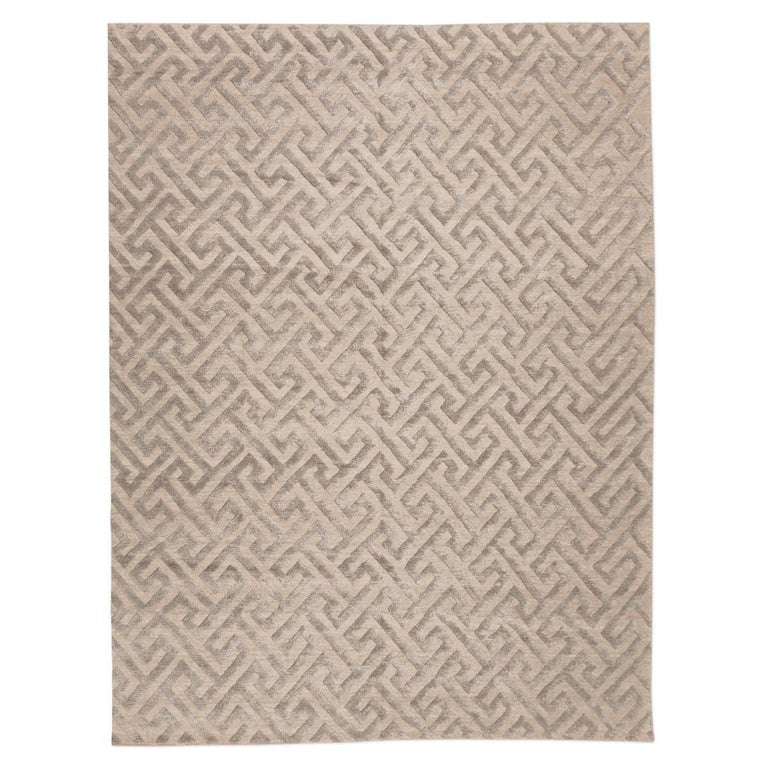 Contemporary Handmade Rug, Geometric Design in Gray Soft Color For Sale
