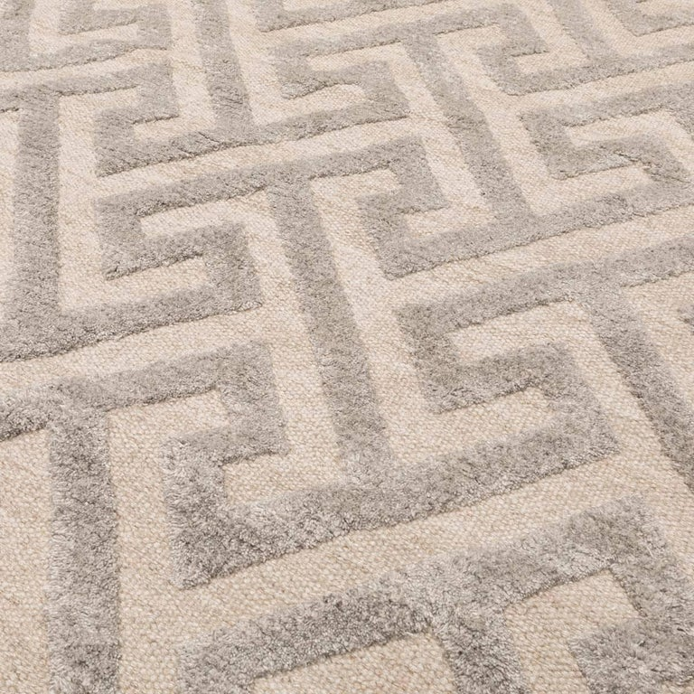 Contemporary Handmade Rug, Geometric Design in Gray Soft Color For Sale 2