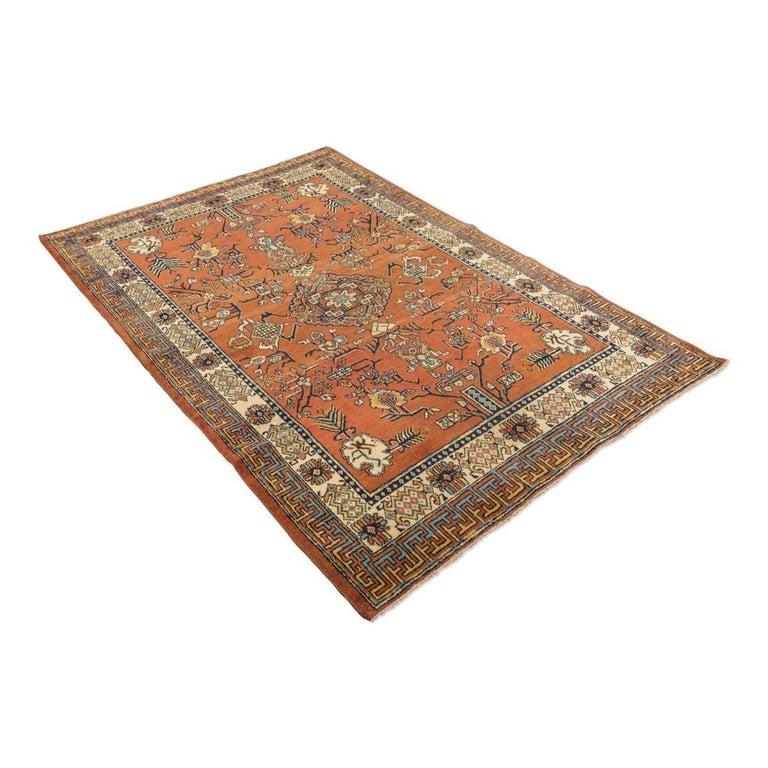 Khotan 20th Century Samarkand Wool Rug, Kothan Design, circa 1900 For Sale