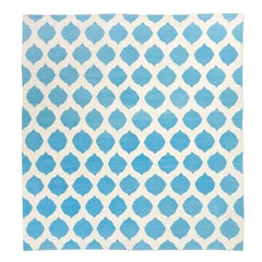 Handmade Contemporary Flat-Weave Blue and Beige Colors