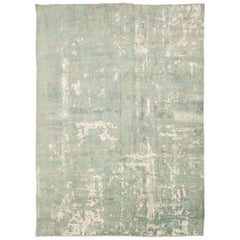 21st Century Silk and Wool Rug, Abstract Design in Turquoise, Green and White