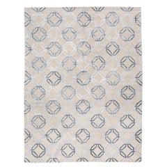 Moderner Seide und Wolle Teppich mit geometrischen Design über grauen Farben