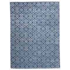 Moderner Teppich aus Seide und Wolle, geometrisches Design in grauen und blauen Farben, 21. Jahrhundert