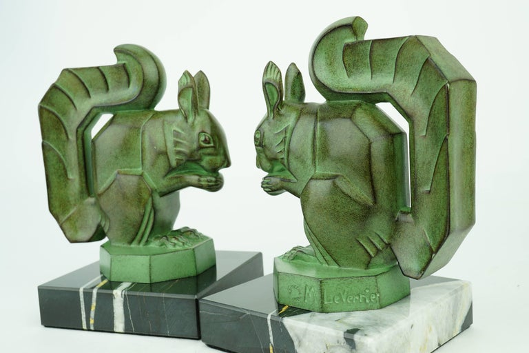 Patinated Two French Art Deco Squirrels by Max Le Verrier For Sale