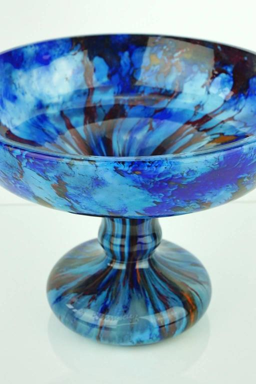 Large French Art Deco Jade bowl in blue with navy and orange signed Schneider. Very good condition.  The Jade series, like this bowl, played a major role in Charles Schneider's Art Deco production. From 1923-1928 he created 348 shapes in so many