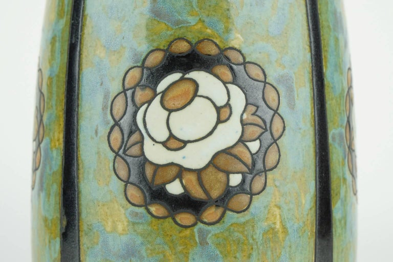 Art Deco Keramis Stoneware Boch Vase with Floral Medallions D771 F396 In Excellent Condition For Sale In , BE
