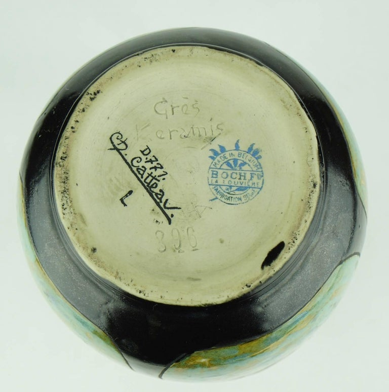 Early 20th Century Art Deco Keramis Stoneware Boch Vase with Floral Medallions D771 F396 For Sale