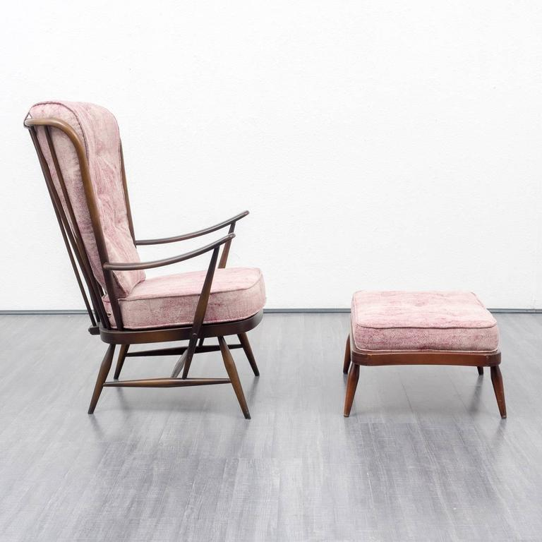 1950s Armchair and Ottoman, L. Ercolani for Ercol, New Upholstery 5