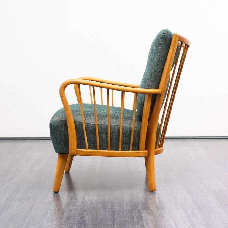 1950s armchair petrol reupholstered at 1stdibs. Black Bedroom Furniture Sets. Home Design Ideas