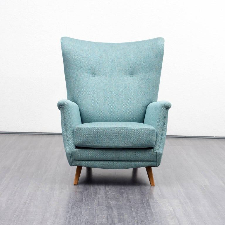 1960s vintage wingback chair entirely restored turquoise for Ohrensessel 1960