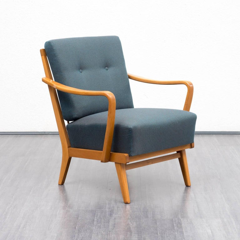 1950s Lounge Armchairs Re Upholstered In Multicolored: 1950s Armchair, Reupholstered, Petrol Blue, Beech At 1stdibs