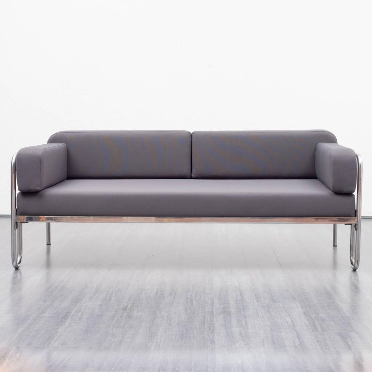 1930s bauhaus sofa new upholstery anthracite fabric tubulair steel frame at 1stdibs Steel frame sofa