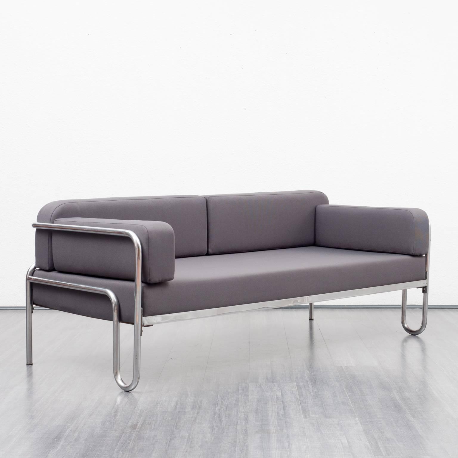 1930s Bauhaus Sofa, New Upholstery, Anthracite Fabric, Tubulair Steel Frame  At 1stdibs