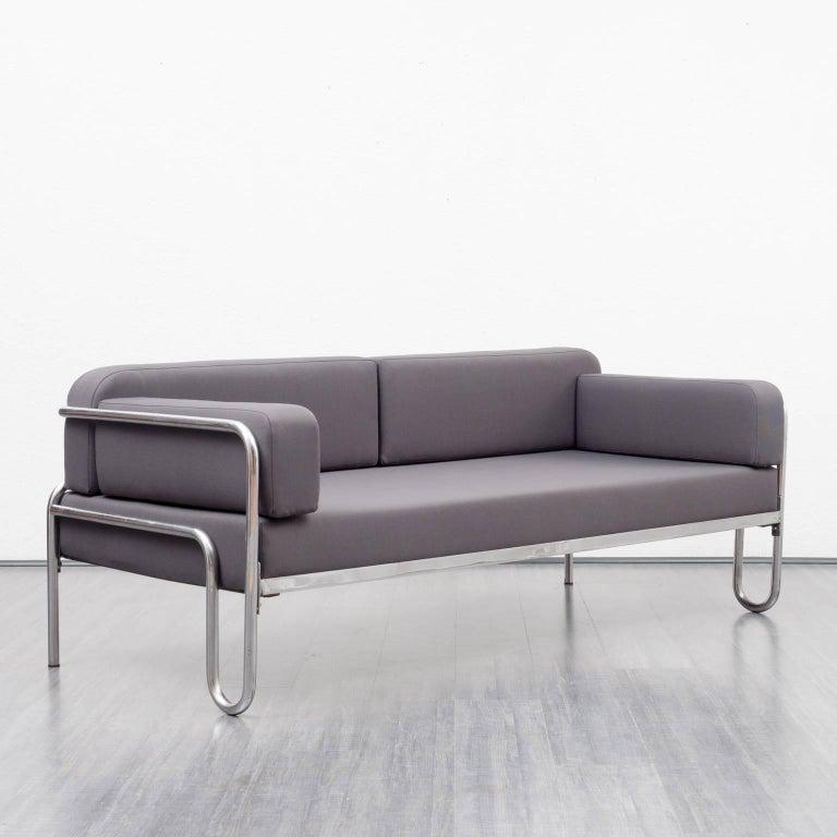 1930s Bauhaus Sofa New Upholstery Anthracite Fabric
