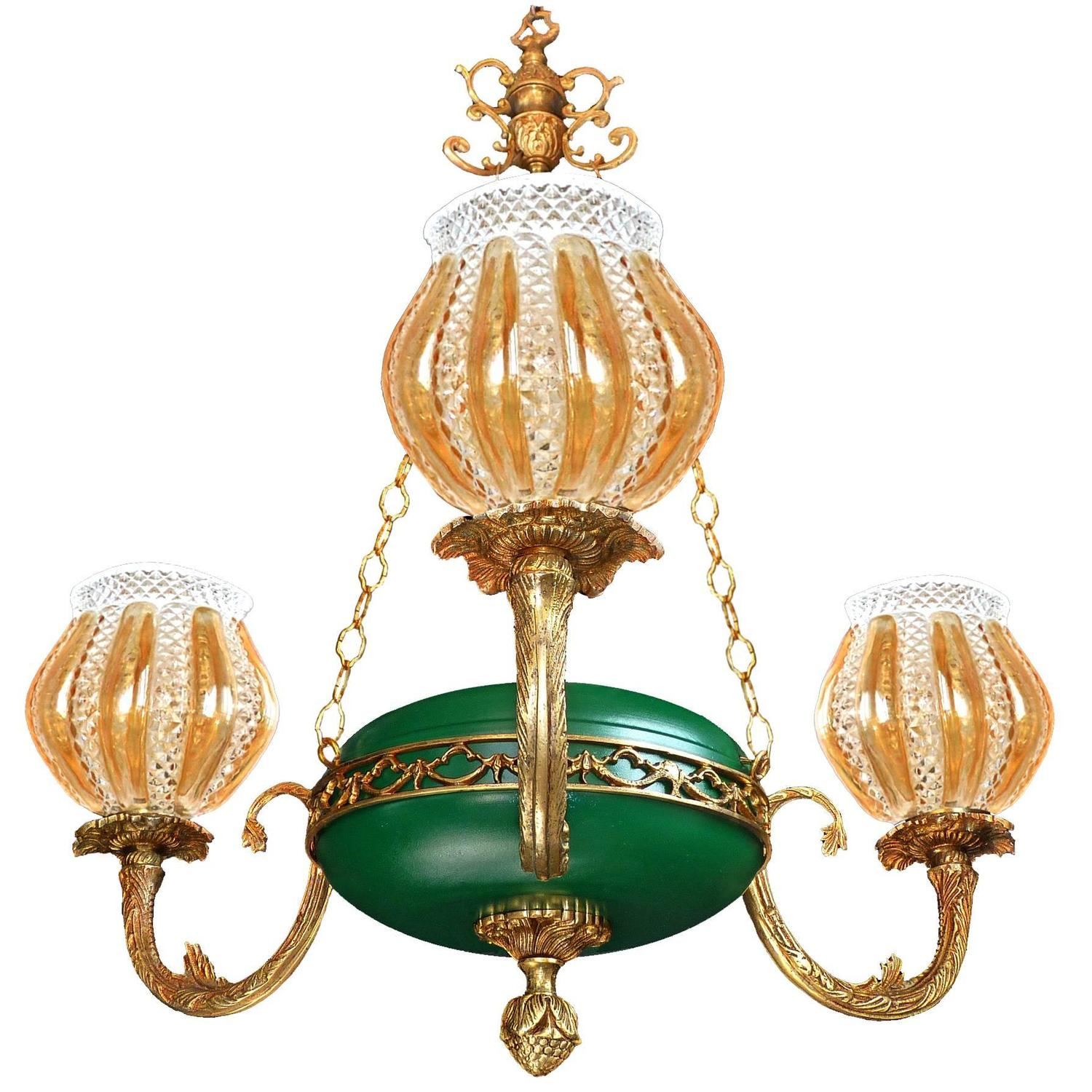 opaline singles murano z with of clear glass accents vintage shop green chandelier