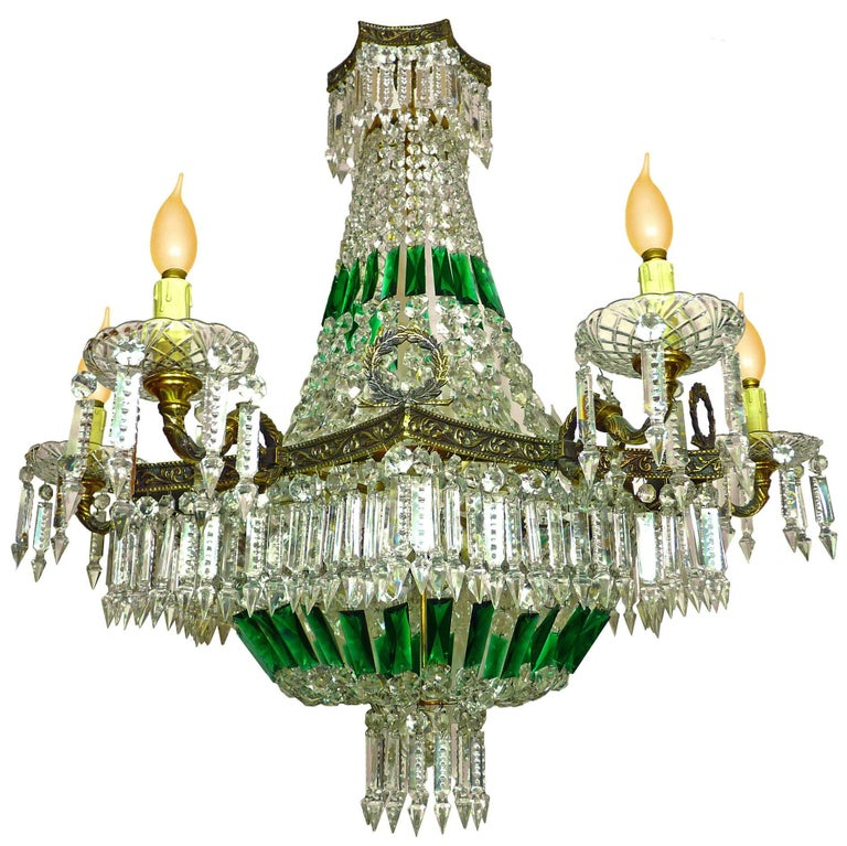 Impressive French Empire Green Crystal, Basket and Bronze Chandelier, 15 Light