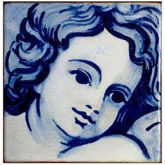 Blue Hand-Painted Baroque Cherub or Angel, Portuguese Ceramic Tile or Azulejo