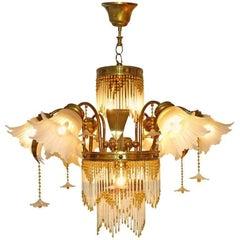 Art Deco Gilt Brass & Beaded Amber Glass Palm Tree Hollywood Regency Chandelier