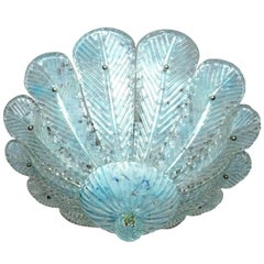 Barovier & Toso Italian Murano Glass Flush Mount Chandelier with Blue Leaves
