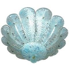 Italienische Barovier & Toso Muranoglas Deckenleuchte mit Blauen Blättern