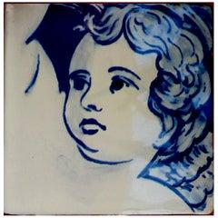 Blue Hand-Painted Baroque Cherub or Angel Portuguese Ceramic Tile or Azulejo