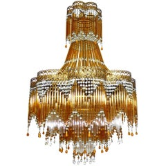 Italian Art Deco or Art Nouveau Amber Murano Glass Hollywood Regency Chandelier