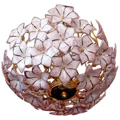 Extra Large Vintage Gold Italian Pink Murano Flower Venini Art Glass Chandelier