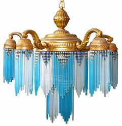 Large French Art Nouveau/Art Deco Gilt Brass Blue Beaded Glass Fringe Chandelier