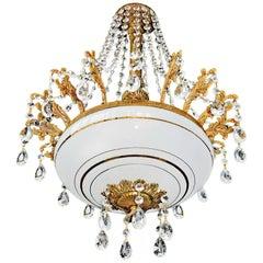 French Empire Hollywood Regency Gilt 6 Light Crystal Teardrop Chandelier